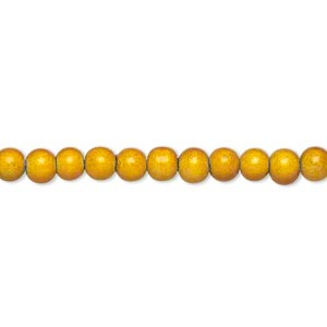wonder bead, acrylic, gold, 4mm round with 0.9-1.2mm hole. sold per 16-inch strand.