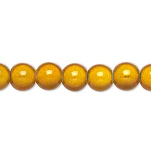wonder bead, acrylic, gold, 8mm round. sold per 16-inch strand.