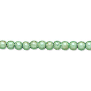 wonder bead, acrylic, mint green, 4mm round with 0.9-1.2mm hole. sold per 16-inch strand.