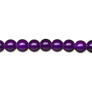 wonder bead, acrylic, purple, 6mm round. sold per 16-inch strand.